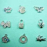 Custom Small Silver Metal Pendants with Rhinestones for Jewelry Making