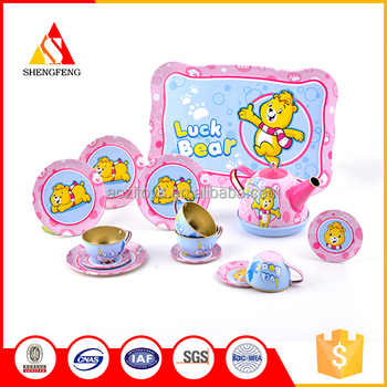 2019 wholesale factory cartoon bear kitchen toys tea set for kids