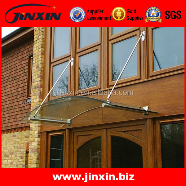 Modern Design Outdoor Tempered Glass Canopy / Rain Shelter Fittings/door window awnings