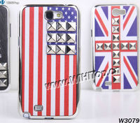 Pyramid Studs Case.Studded Case for Samsung Galaxy Note 2 N7100.American Flag Case Galaxy Note 2