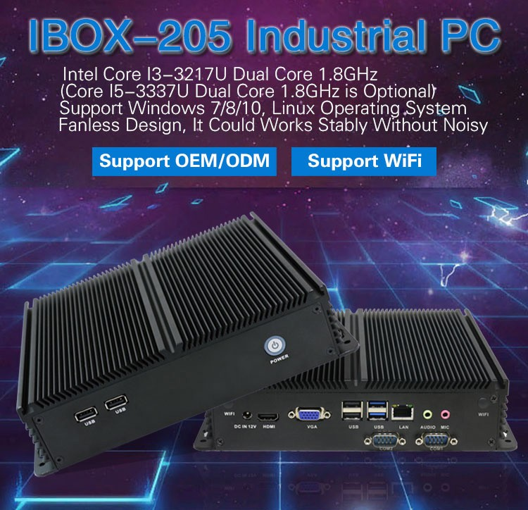 Iwill IBOX205 ION4 I5-3337U Fanless Embedded PC, Green No Noise computer