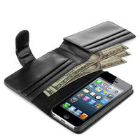 Flip wallet card holder leather case for iphone 5 5s
