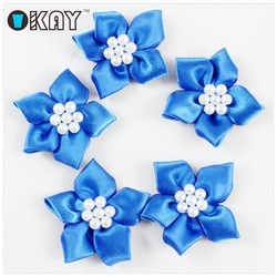 Wholesale Colorful Polyester Satin Ribbon Bows with Pearl Bead