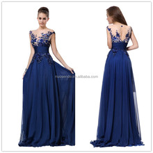 2016 Hot Selling Royal Blue Appliques Backless Chiffon Evening Dresses Fromal Long Evening Party Dress Vestido De Festa