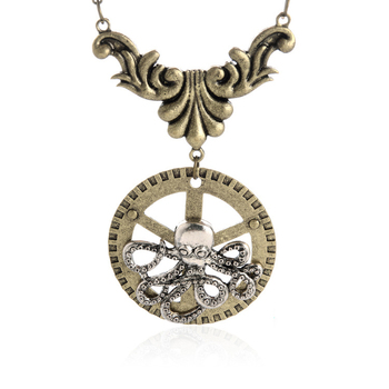 Steampunk octopus pattern necklace