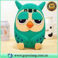 Cute owl soft case 3d cartoon animal silicone case for samsung galaxy s3 i9300