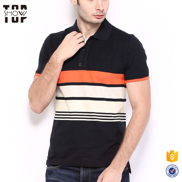 Wholesale mens contrast striped new pattern polo latest designs t shirt for men