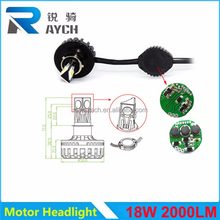 Motorcycle / car accessories 18w 2000lumen universal 3 sides motorcycle led headlight for all motor