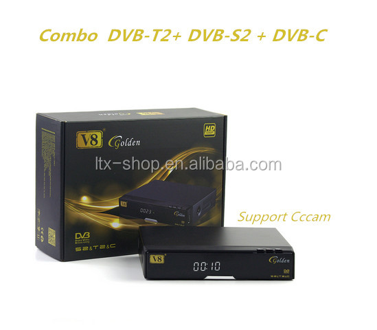 V8 Golden DVB-S2+T2/C 1080P Full HD IPTV Set Top Box Support Cccam Youtube 3G Powervu PVR Digital Satellite Combo Receiver