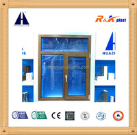 Film laminated woodn color uPVC profile casement window