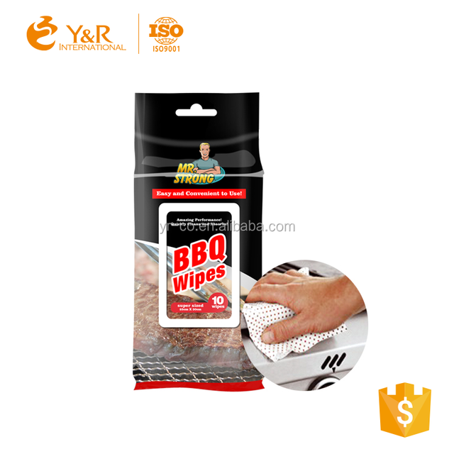 Barbecue BBQ Clean Wet Wipes with plastic dots
