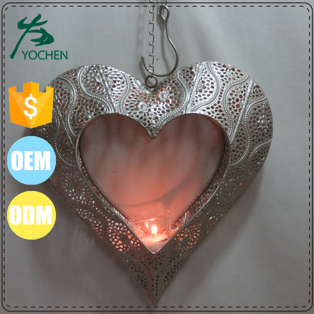 small hang heart shape metal lantern, heart-shaped metal lantern