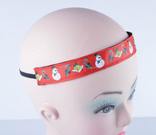 Red christmas design printed elastic sport hair bands