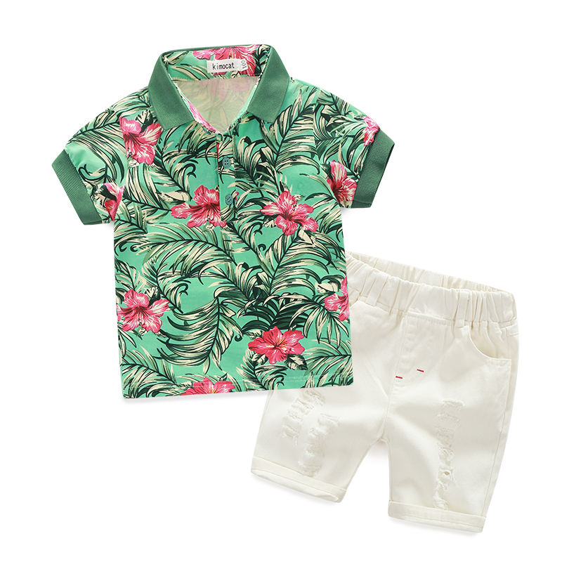 Fashion Polychromatic Top Shirt + Pant Boy Clothes Sets Kid Wear
