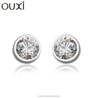 OUXI fashion 925 sterling silver crystal ball stud earrings Y20133