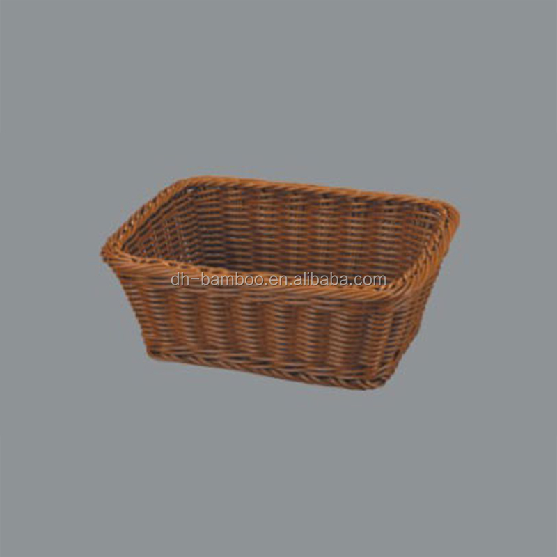 Wholesale Exqusite Rectangle Plastic Woven Bread Storage Tray,Plastic Rattan Wicker Bread Basket