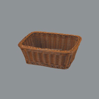 Wholesale Exqusite Rectangle plastic woven bread storage tray,plastic rattan wicker basket