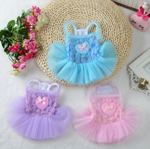 factory supply dog clothes summer pet dog tutu shirt cute Yarn dress with bow
