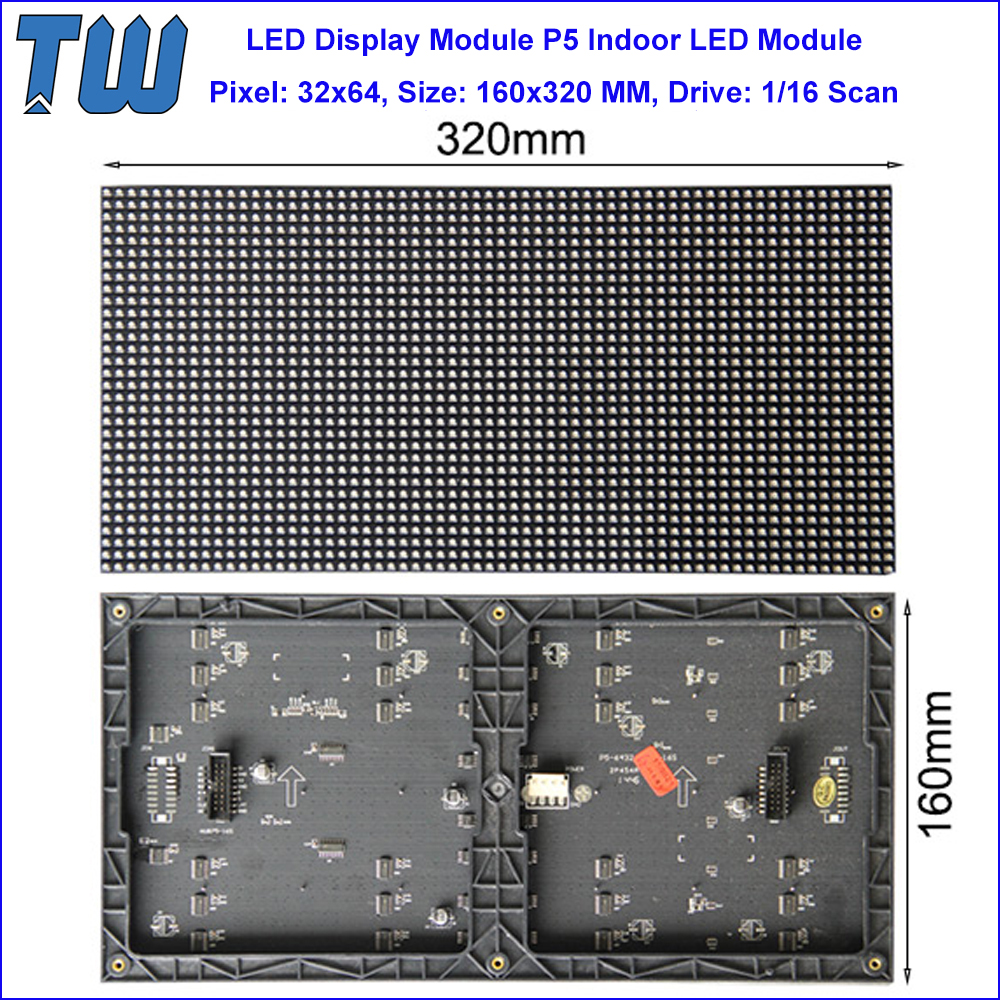 LED Module Size 320x160 mm Pixel Pitch 5mm LED Advertising Display Screen Indoor Hanging Installation