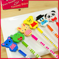 Best Selling children stationery wholesale funny animal pencil topper flexible pencil