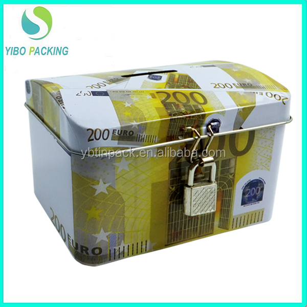 Best selling colorful tin can coin bank with lock and key durable recycled tinplate