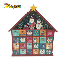 Wholesale pretty house shape kids wooden christmas calendar box with 24 mini drawers W09F010
