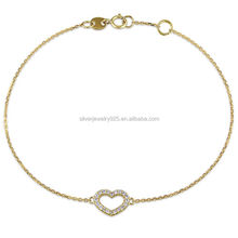 Silver plaza jewelry pave setting 14K gold plated small heart bracelet