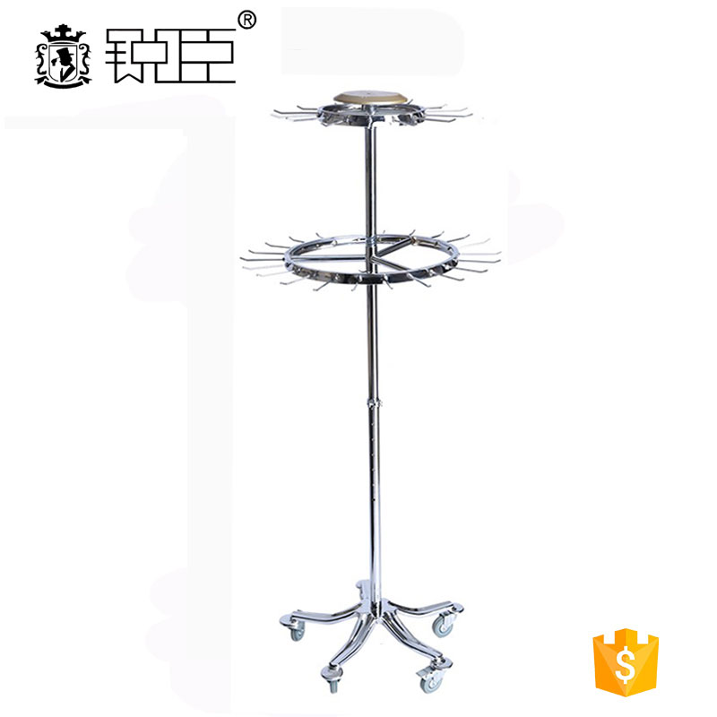 Round rotating belt rack metal hanging clothes display racks