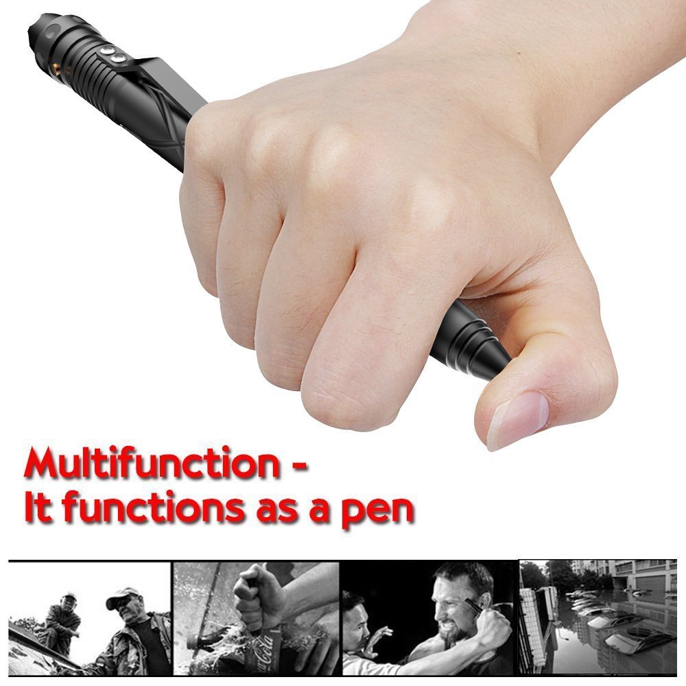 LED flashlight self defense tactical pen with Glass Breaker and NDA catcher