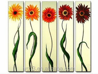 5pcs panel sunflower 100% handmade wall art oil paintings PL-151