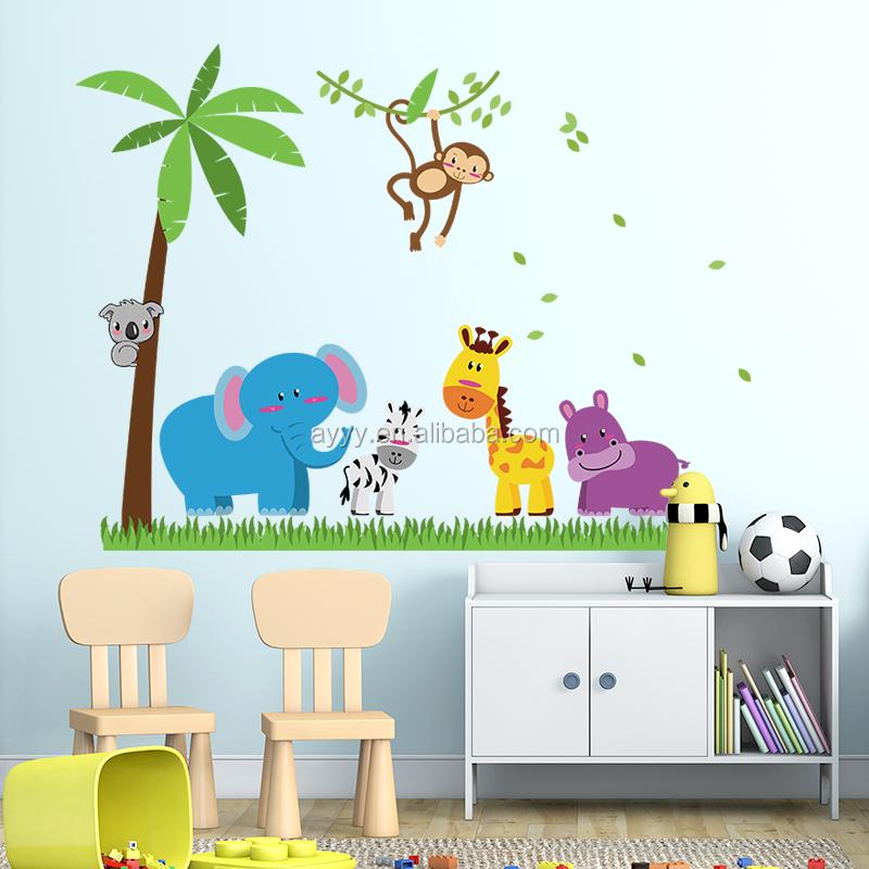sk9039 arbres de noix de coco et mignon de bande dessin e animaux bricolage sticker mural. Black Bedroom Furniture Sets. Home Design Ideas