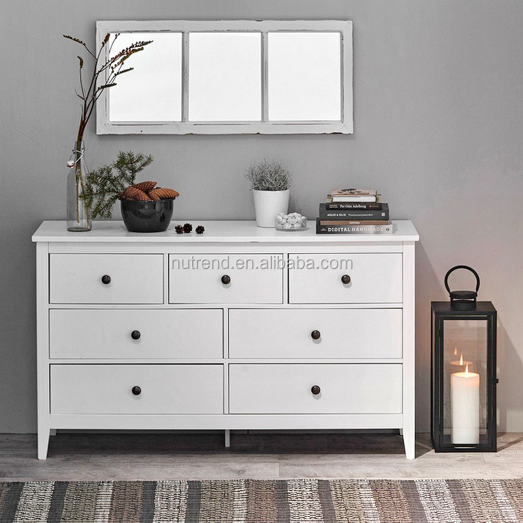 home used long white chest of drawers with cheap price