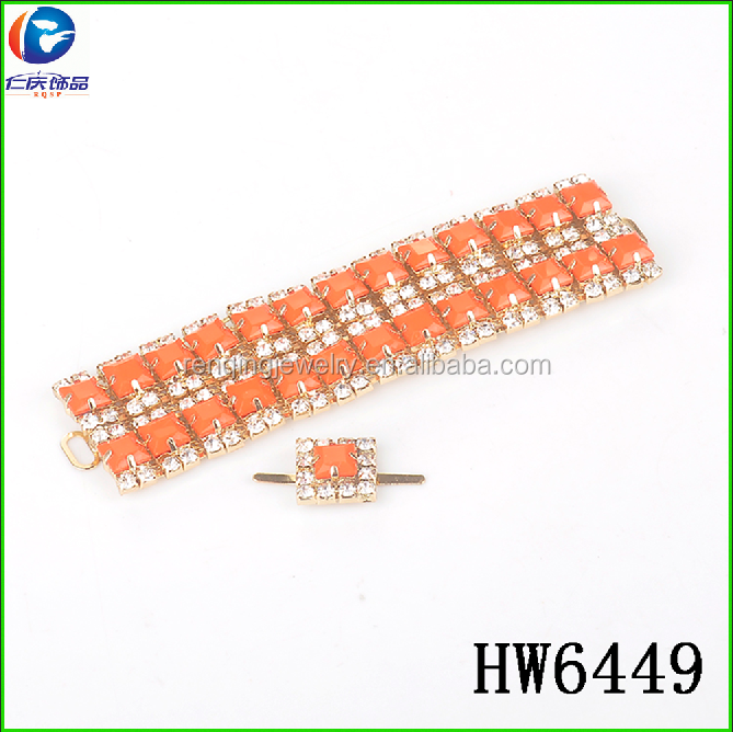hw6449 Fashion Rhinestone Acrylic Shoe Ornament For Lady Shoes