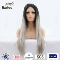 Qingdao Hair Factory Supply Wholesale Synthetic Gray Hair Lace Wig