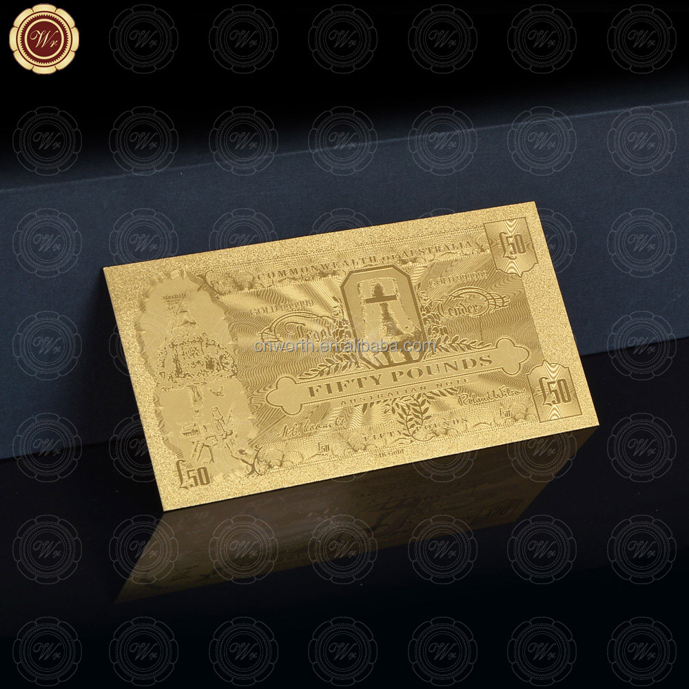 Gold Leaf <strong>Art</strong> And Craft Australia Ned Kelly 50 Pounds 24k 99.9 Fine Gold Banknote For Collection And Christmas Present