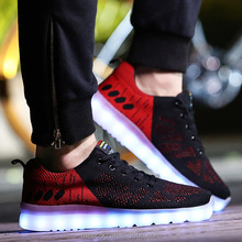 Led Shoes Men Casual Shoe 2016 New Fashion High Quality Spring Mesh Air Schoenen Zapatillas Con Luces Glowing Light Up Shoes