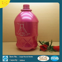 5000ml pink large round plastic bottles container for coco cola, milk, water, drinks