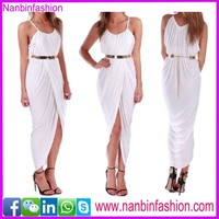nanbinfashion white turkish long dress with belt