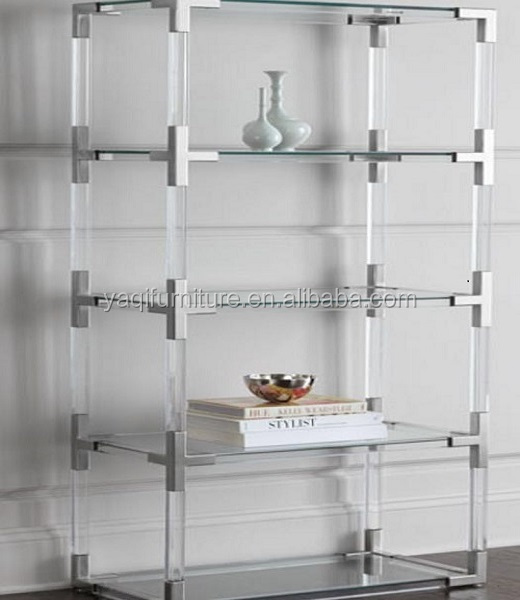 Acrylic bookcase with tempered glass