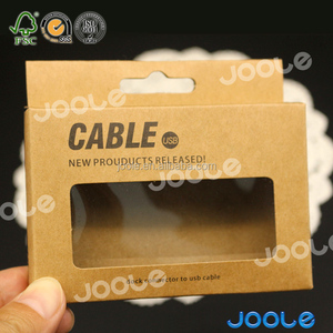 Recycled kraft paper USB cable box custom packaging box with clear window