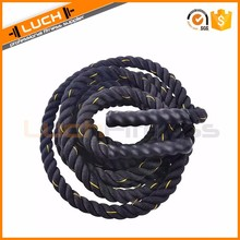 "Black 1.5""/2"" width poly dacron 30/40/50 ft length battle rope, workout training undulation rope, exercise rope"