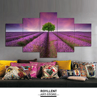 5 Panel Canvas Wall Art Romantic Lavender Flower Frame Picture Print House Painting Living Room Set Home Decor Wholesale RA0028