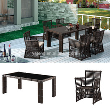 Black Wicker Garden Furniture / Rattan Outdoor Restaurant Dining Table and Chair for 6 set