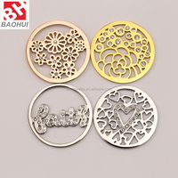 24/33MM Stainless Steel Crystal Flower Window Plate /Floating Charming For Coin Locket