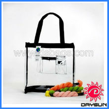 Clear Medium Black Pink PVC Tote Bag with zipper