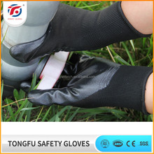 Cheap price anti acid polyester nitrile safety work gloves