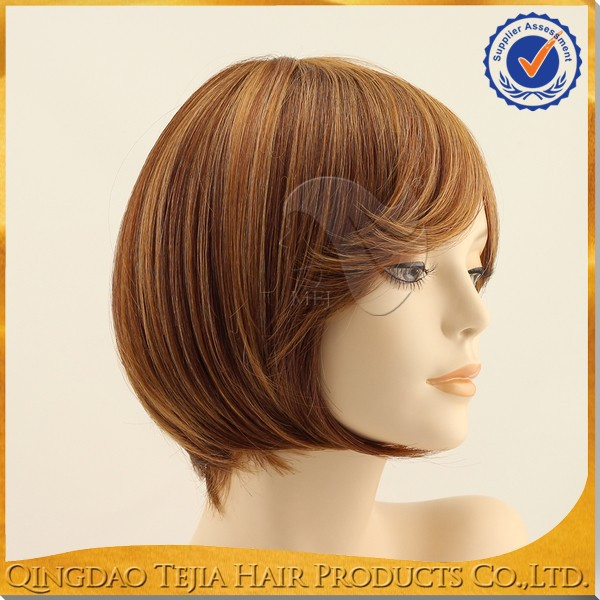 New fashion large cap short bob african american side parted wig