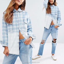Designer Western Tops Images Oversized Boyfriend Gradient Color Checked Shirt Ladies Jeans Top Design