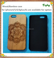 2015 Mobile phone accessories laser engraving custom MANDALA design plastic wooden back cover cell phone wood design