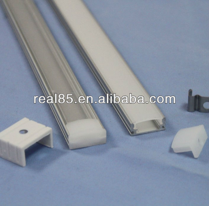 flat aluminum profile, Frosted/Diffused Cover, End Caps, Mounting Clips, Suitable for 10~12MM wide Flexible LED Strip
